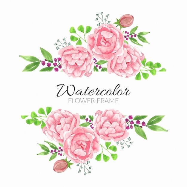 牡丹の花束と水彩花のフレーム Premiumベクター