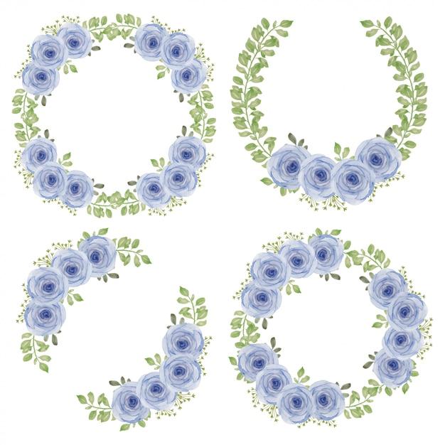 Акварель фиолетовая роза цветок круг венок Premium векторы