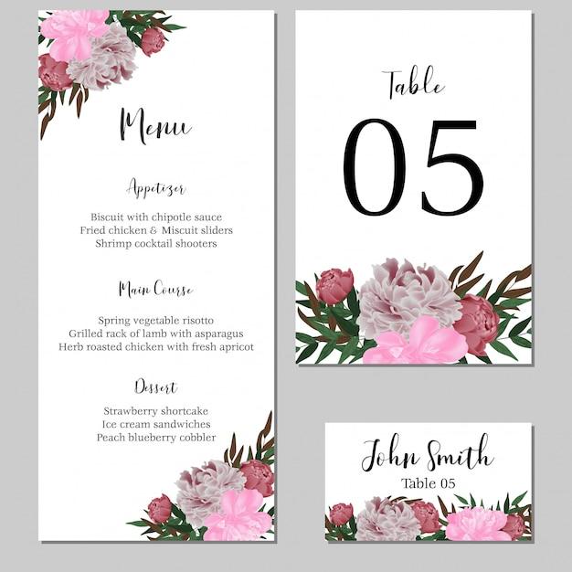 牡丹の花と静止している花の結婚式のメニューテンプレート Premiumベクター