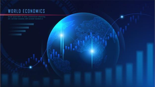 未来的な概念のグラフと背景世界地図 Premiumベクター