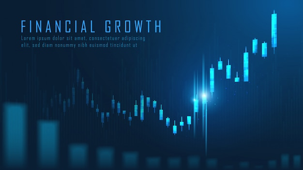 Фондовый рынок или форекс график в графической концепции Premium векторы