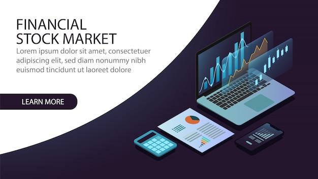 Изометрическая концепция финансового фондового рынка Premium векторы