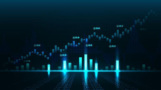 グラフィックコンセプトの株式市場または外国為替取引グラフ Premiumベクター