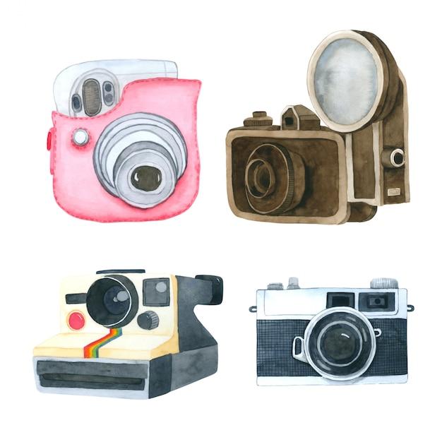 Фотоаппарат акварельной коллекции на белом фоне Premium векторы