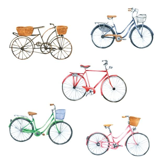 自転車水彩手描きの塗装 Premiumベクター