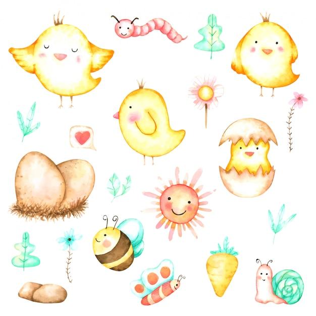 Симпатичная курица мультяшный набор рисованной акварелью для детской и детей Premium векторы