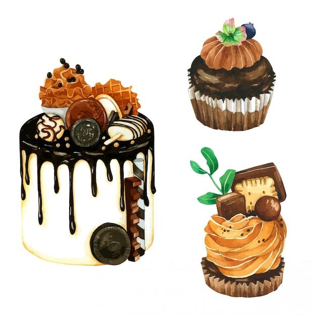 Набор шоколадного торта в акварели Premium векторы