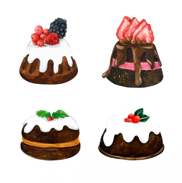 水彩画のチョコレートケーキのセット Premiumベクター