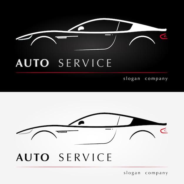 オートサービスロゴ。 Premiumベクター