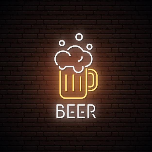 ビールマグのネオンサイン。 Premiumベクター