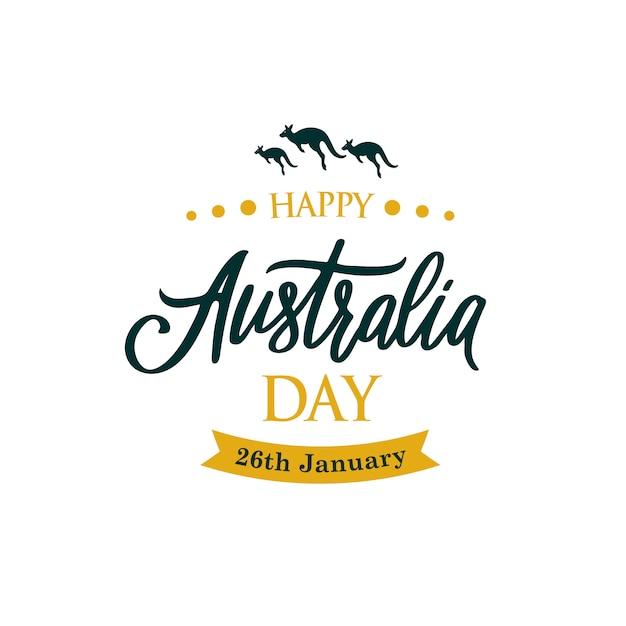 カンガルーと幸せなオーストラリア日グリーティングバナー。 Premiumベクター