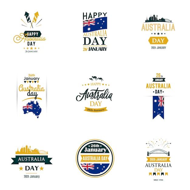Набор шаблонов дизайна для дня австралии Premium векторы