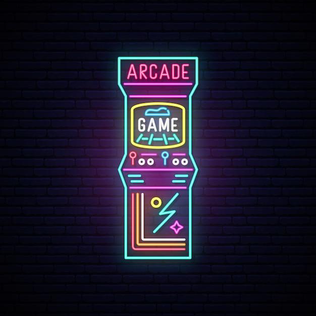 アーケードゲーム機のネオンサイン。 Premiumベクター