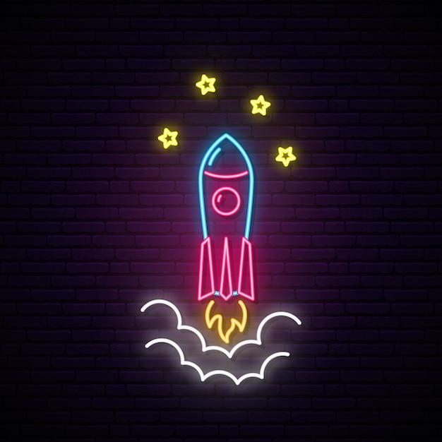 ロケットネオンサイン。 Premiumベクター