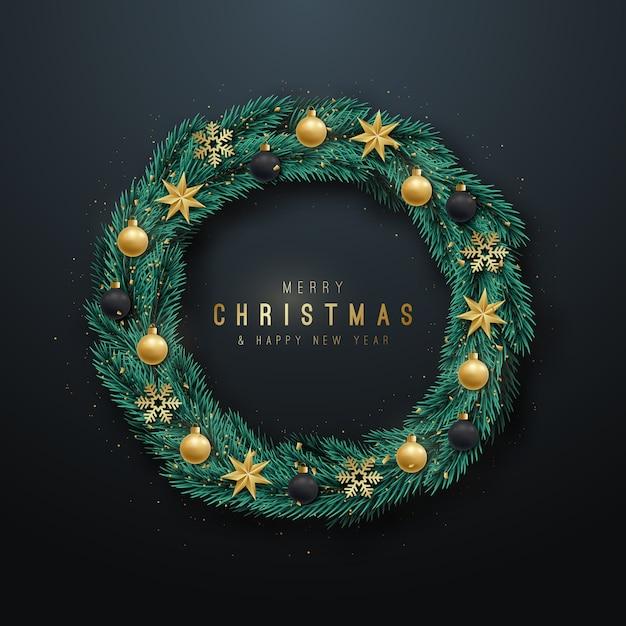 現実的なクリスマスリース。 Premiumベクター