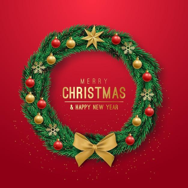 Реалистичные рождественский венок на красном фоне. Premium векторы