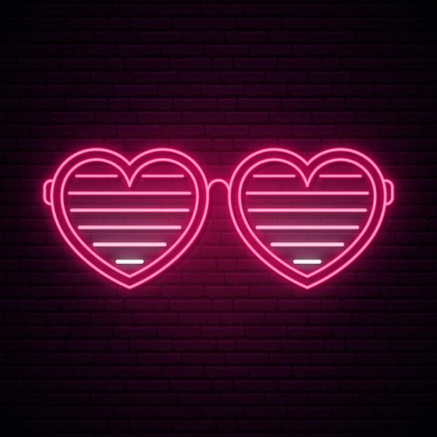 Неоновые очки в форме сердца. Premium векторы