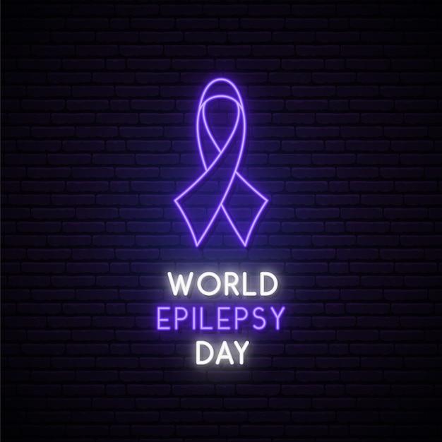 Всемирная эпилепсия день концепция неоновая вывеска. Premium векторы