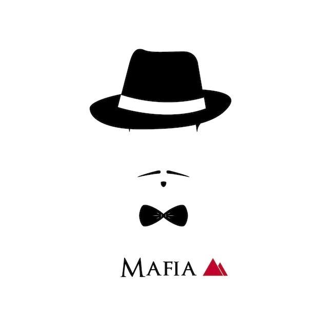 イタリアのマフィソの顔は白い背景にある。 Premiumベクター