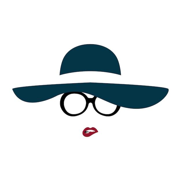 優雅な帽子とメガネの女性の肖像画が彼女の唇をかむ。 Premiumベクター