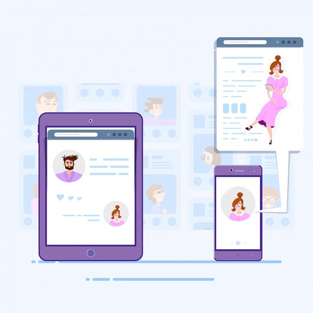 Социальные сети концепция планшета общения людей Premium векторы