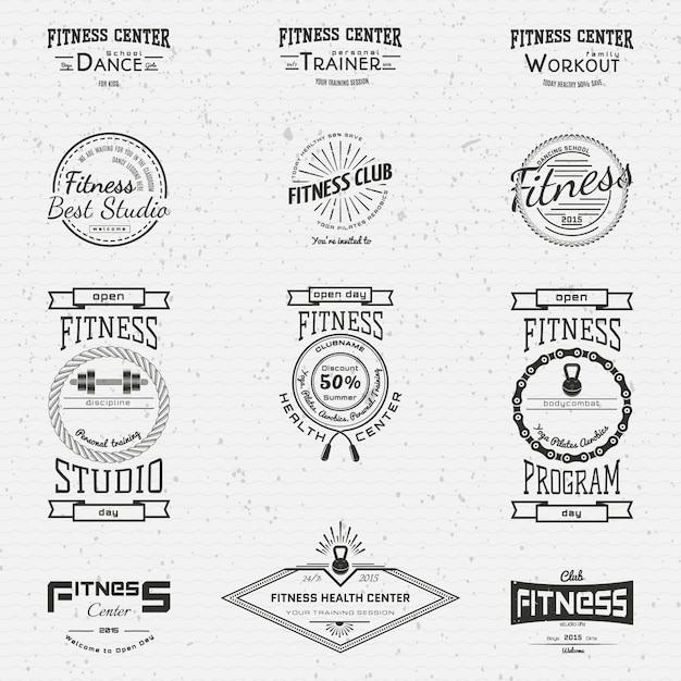 フィットネスクラブのバッジロゴとラベルの使用 Premiumベクター
