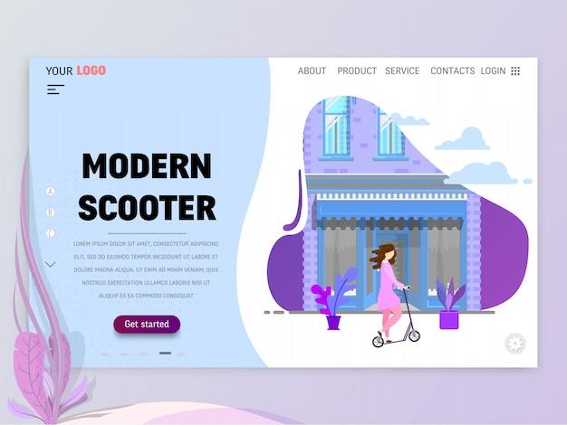 Целевая страница или шаблон сайта со сценами активной жизни в городской среде. Premium векторы