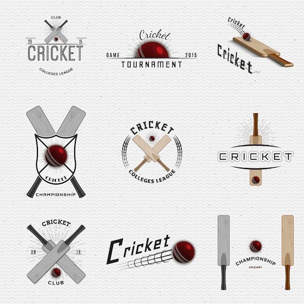 クリケットバッジのロゴとラベルをデザインに使用できます Premiumベクター