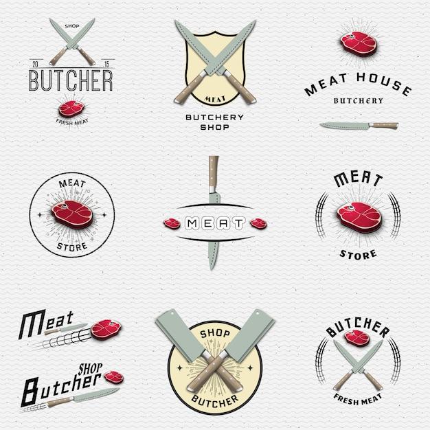 食肉店のバッジのロゴとラベルの使用 Premiumベクター