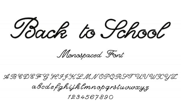 学校に戻る。ベクトルのアルファベット書道のフォントです。 Premiumベクター