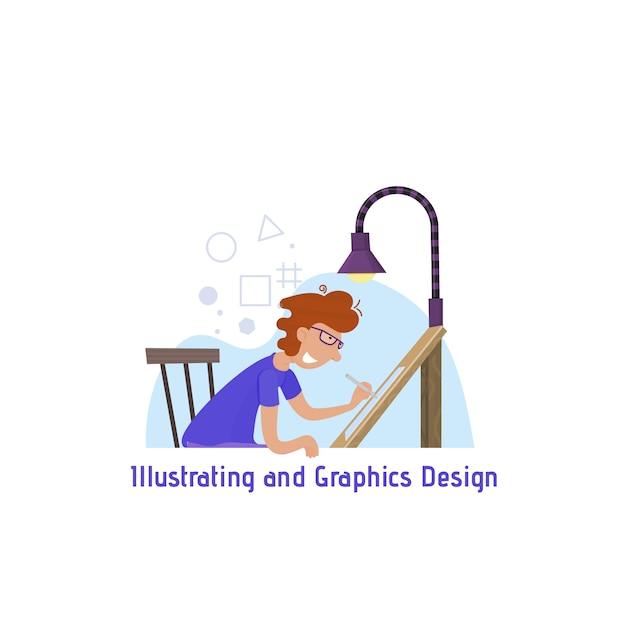 Иллюстрации и графический дизайн, концепция сайта, человек рисует на графическом планшете. Premium векторы