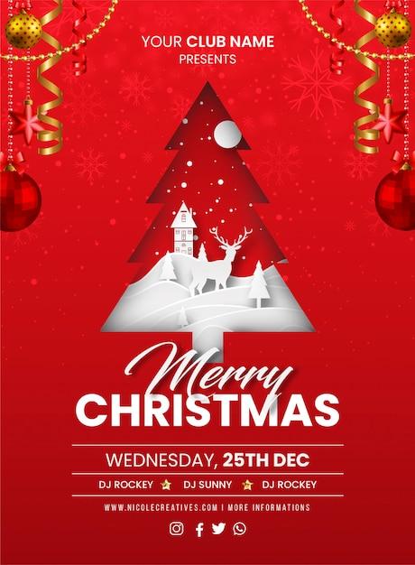 Счастливого рождества красная вечеринка пригласительный билет, плакат или флаер шаблон Premium векторы