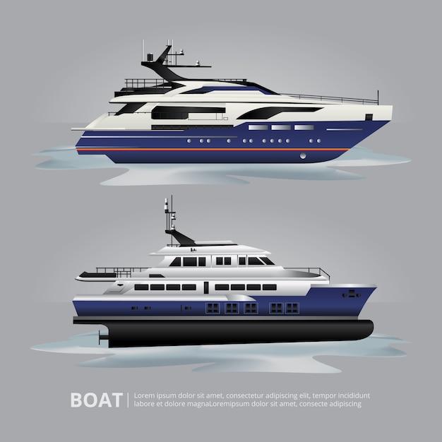 Транспортная лодка туристическая яхта для путешествий векторная иллюстрация Бесплатные векторы