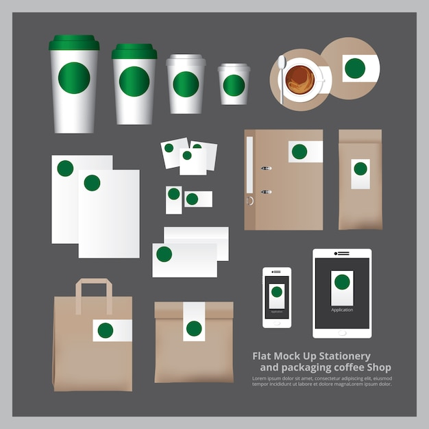 フラットモックアップ文房具と梱包コーヒーショップ Premiumベクター