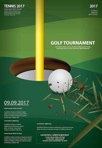 ポスターゴルフ選手権のベクトル図 Premiumベクター