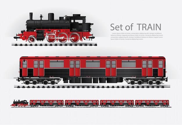 鉄道道路上の貨物列ベクトル図 Premiumベクター