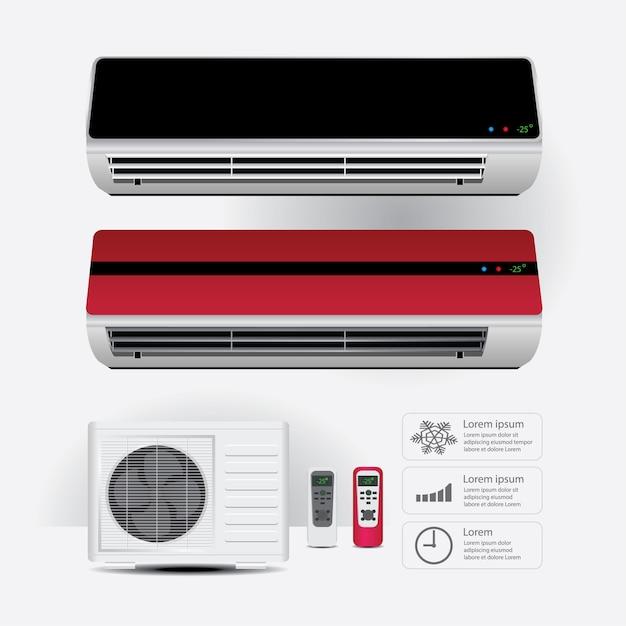 冷たい空気のシンボルと実感的なリモートコントロール Premiumベクター
