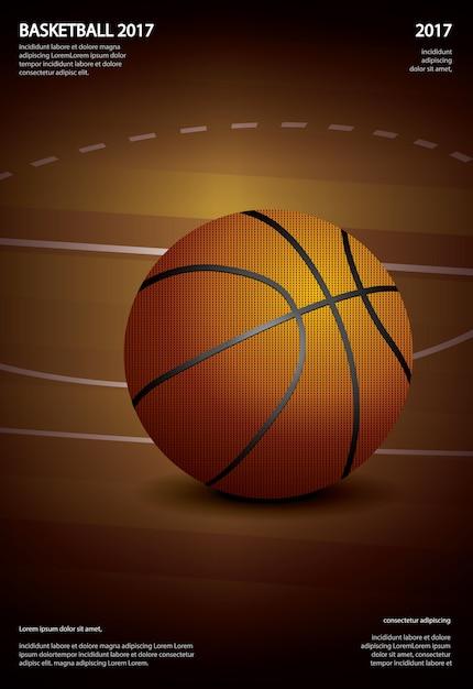 バスケットボールのポスター広告のベクトル図 Premiumベクター