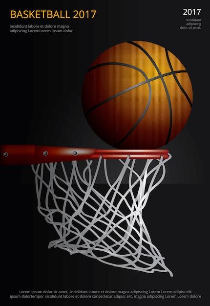 バスケットボールのポスターの広告のイラスト Premiumベクター