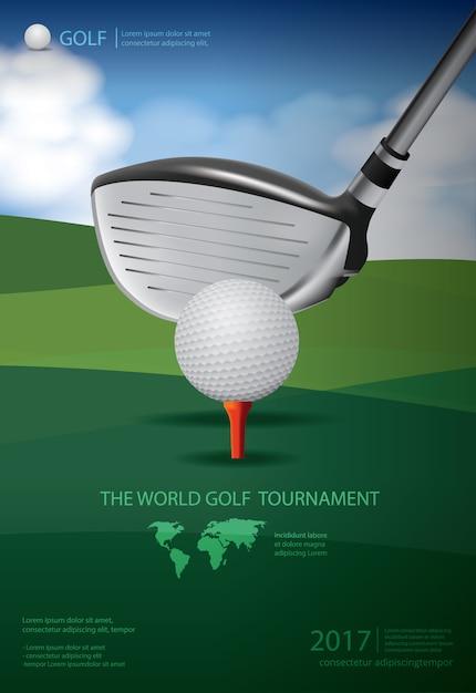 ポスターゴルフ選手権イラスト Premiumベクター