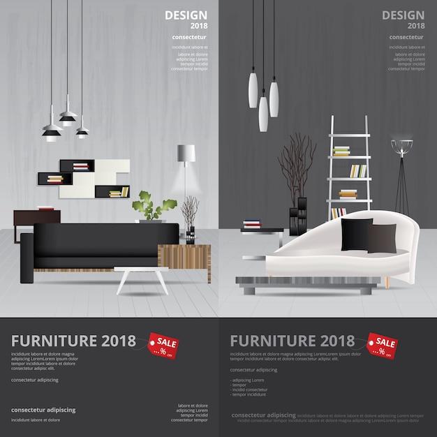 バナー家具販売デザインテンプレートイラスト Premiumベクター
