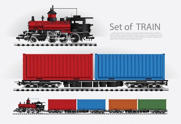Грузовой поезд на иллюстрации железной дороги Premium векторы