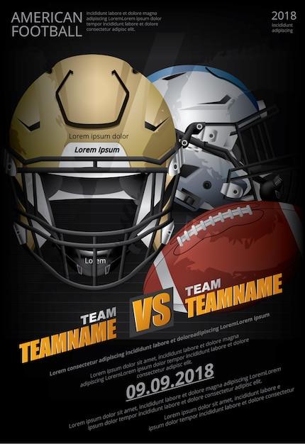 アメリカンフットボールのポスターベクトルイラスト Premiumベクター