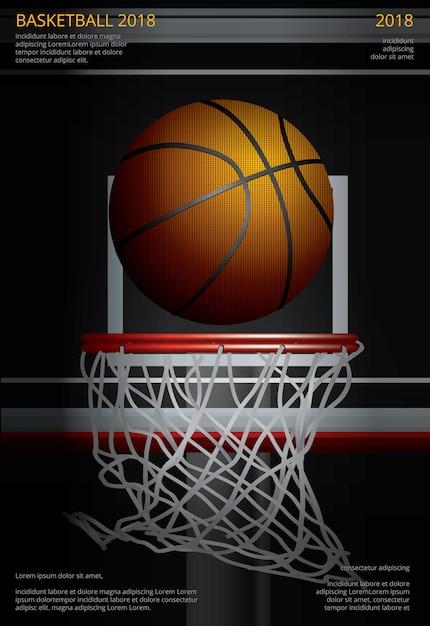 バスケットボールポスター広告ベクトルイラスト Premiumベクター