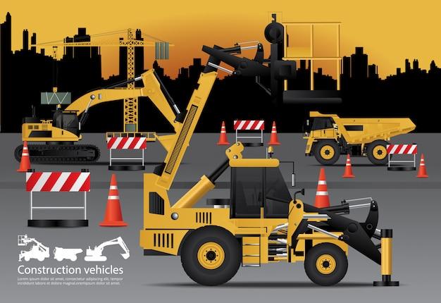 Набор строительных машин Premium векторы