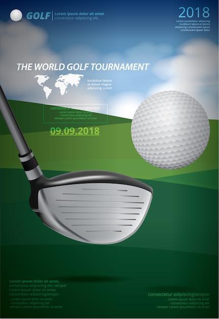 ポスターゴルフ選手権ベクトルイラスト Premiumベクター