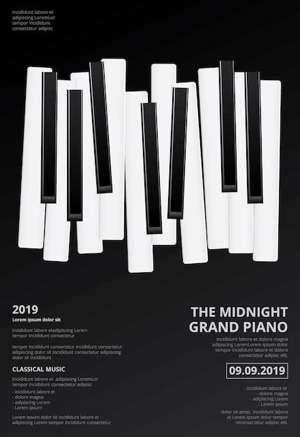 Музыка рояль плакат фон шаблон векторные иллюстрации Premium векторы