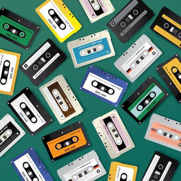 ビンテージレトロカセットテープパターンデザインテンプレートベクトル