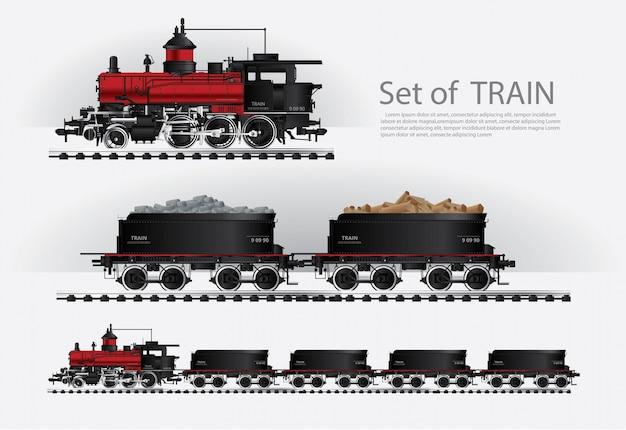 貨物列車の鉄道道路ベクトルイラスト Premiumベクター