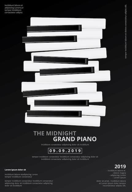 音楽グランドピアノポスターの背景テンプレート Premiumベクター
